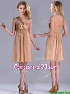 New Style One Shoulder Chiffon Short Dama Dress in Champagne