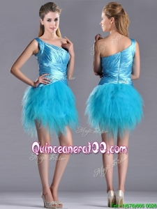 Wonderful One Shoulder Ruched and Ruffled Aqua Blue Dama Dress in Tulle
