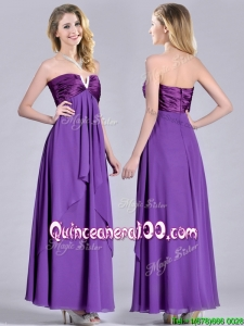 Cheap Beaded Decorated V Neck Chiffon Dama Dress in Eggplant Purple