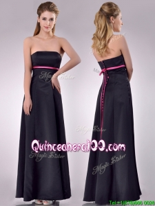Classical Black Ankle Length Dama Dress with Hot Pink Belt