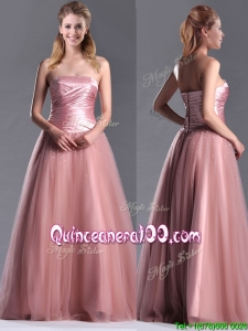 Elegant A Line Tulle Beaded Long Dama Dress in Peach