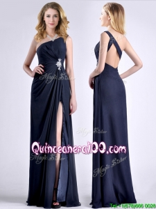 Exquisite One Shoulder Navy Blue Dama Dress with Beading and High Slit
