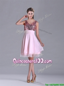 Latest V Neck Sequined Decorated Bodice Dama Dress in Baby Pink