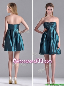 New Arrivals Strapless Ruched Taffeta Short Dama Dress in Teal