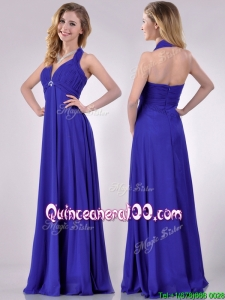 New Style Halter Top Zipper Up Long Dama Dress in Blue