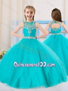 2016 Princess Scoop Aqua Blue Mini Quinceanera Dress with Beading