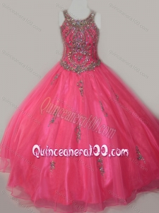 Beautiful Ball Gown Scoop Floor-length Beaded Lace Up Little Girl Pageant Dress in Organza
