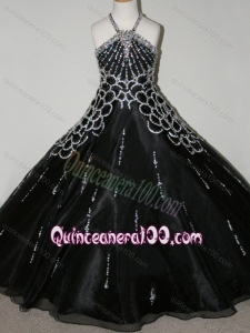 Cheap Beaded Decorated Halter Top and Bodice Little Girl Pageant Dress in Black