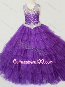 Classical Beaded and Ruffled Layers Little Girl Pageant Dress in Purple