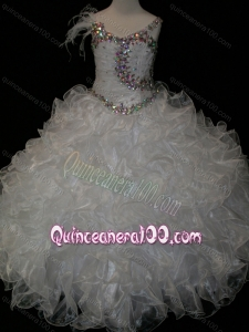 Elegant Ball Gown V Neck Organza Beading Lace Up Flower Girl Dress in White