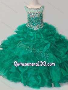 Exquisite Beaded and Ruffled Organza Little Girl Pageant Dress in Green