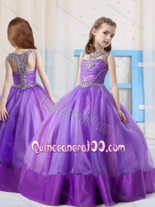 Fashionable Ball Gowns Scoop Side Zipper Little Girl Pageant Dress in Side Zipper