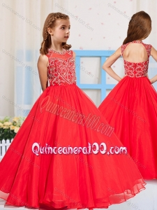 Most Popular Pincess Scoop Beaded Little Girl Pageant Dress in Red