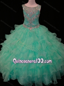New Arrivals Mint Scoop Little Girl Pageant Dress with Beading and Ruffled Layers