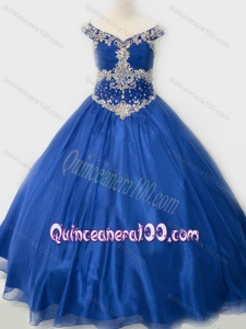 Popular Beaded Bodice Royal Blue Little Girl Pageant Dress in Organza
