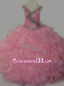 Popular V-neck Ruffled Little Girl Pageant Dress with Spaghetti Straps and Sequins