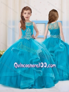 Pretty Ball Gowns Organza Beaded Side Zipper Little Girl Pageant Dress with Scoop