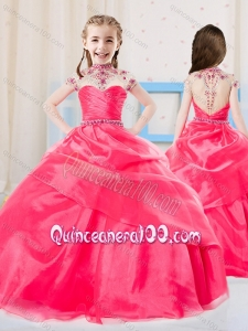 Sweet Ball Gown High Neck Organza Coral Red Little Girl Pageant Dress with Beading