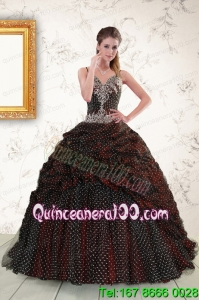 Wonderful Spaghetti Straps Burgundy Sweet 15 Dresses with Appliques and Pick Ups
