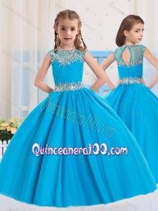 2016 Ball Gowns Scoop Baby Blue Beading Short Sleeves Mini Quinceanera Dress
