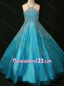 Beaded Decorated Halter Top and Bodice Teal Mini Quinceanera Dress with Criss Cross