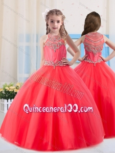 Beautiful Ball Gowns Scoop Tulle Coral Red Mini Quinceanera Dress with Beading