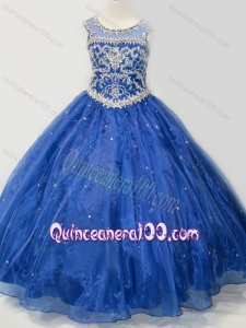 Beautiful Beaded Bodice Open Back Mini Quinceanera Dress in Royal Blue