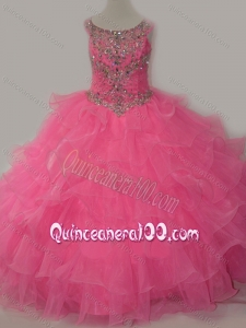 Discount Puffy Skirt Ruffled Layers Mini Quinceanera Dress in Rose Pink