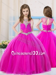 Elegant Ball Gowns Scoop Tulle Mini Quinceanera Dress with Beading