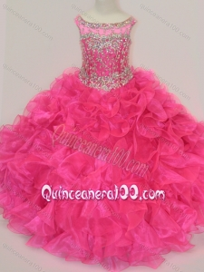 Exclusive Scoop Hot Pink Mini Quinceanera Dress with Beading and Ruffles