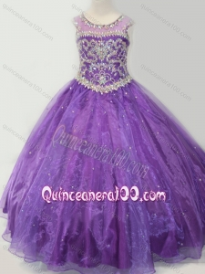 Latest Open Back Beaded Bodice Mini Quinceanera Dress in Purple