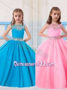 Pretty Ball Gowns Scoop Beading Baby Blue and Baby Pink Short Sleeves Mini Quinceanera Dress