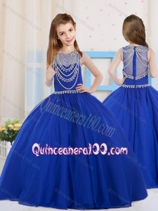 Royal Blue Ball Gowns Scoop Organza Mini Quinceanera Dress with Beading