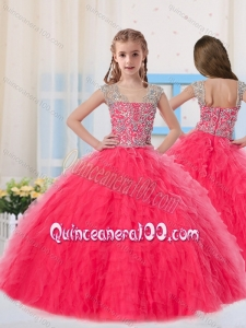 Sweet Ball Gowns Scoop Long Coral Red Mini Quinceanera Dress with Beading