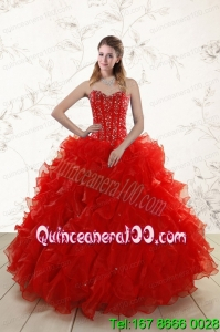 2015 Most Popular Red Quinceanera Dresses with Beading and Ruffles