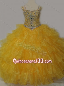Beautiful Sweetheart Mini Quinceanera Dress with Spaghetti Straps in Yellow