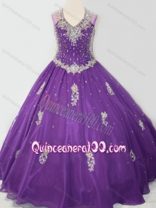 Cheap Ball Gown V Neck Organza Beaded and Applique Mini Quinceanera Dress in Purple