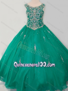 Classical Puffy Skirt Scoop Dark Green Mini Quinceanera Dress with Beading