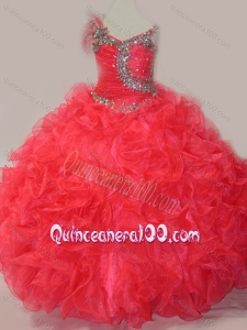 CoraL Red Ball Gown V Neck Organza Beading Mini Quinceanera Dress with Lace Up
