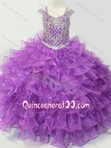 Puffy Skirt V-neck Lace Up Mini Quinceanera Dress with Straps and Ruffled Layers