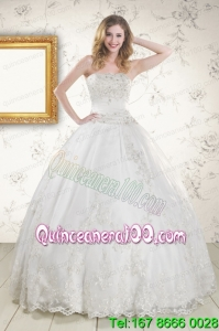 2015 Appliques Beautiful Quinceanera Dresses in White