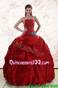 2015 Beaded Strapless Beautiful Quinceanera Dresses with Pick Ups
