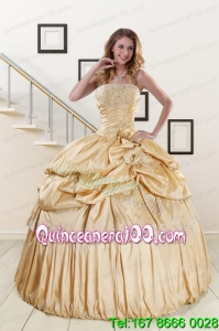 2015 Brand New Champagne Elegant Quinceanera Dresses with Appliques