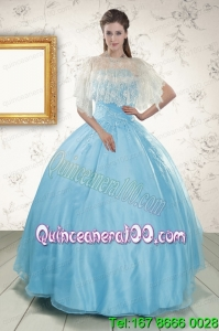 2015 Perfect Baby Blue Strapless Quinceanera Dress with Beading