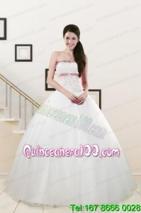 2015 Perfect Strapless Appliques and Belt Quinceanera Dresses in White