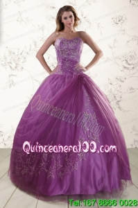 2015 Perfect Sweetheart Purple Quinceanera Dresses with Embroidery