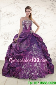 2015 Strapless Embroidery Beautiful Quinceanera Dresses in Purple