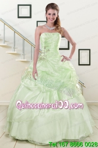 2015 Strapless Yellow Green Beautiful Quinceanera Dresses with Beading