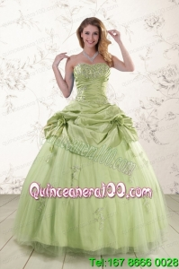 2015 Sweetheart Beading Beautiful Quinceanera Dress in Yellow Green