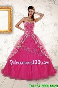 2015 Sweetheart Rose Pink Beautiful Quinceanera Dresses with Sequins and Appliques